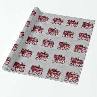 Red Christmas Train Wrapping Paper