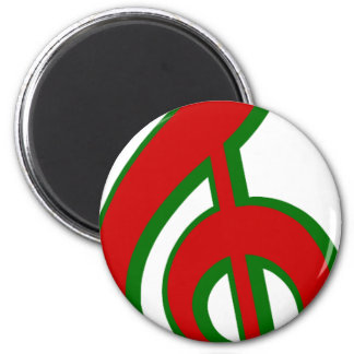 Red Christmas Treble Clef 6 Cm Round Magnet