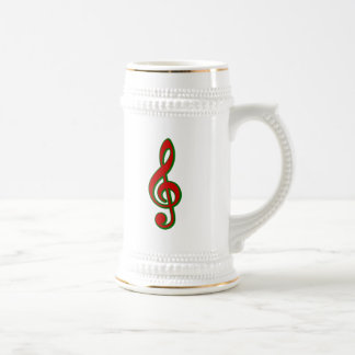 Red Christmas Treble Clef Beer Steins