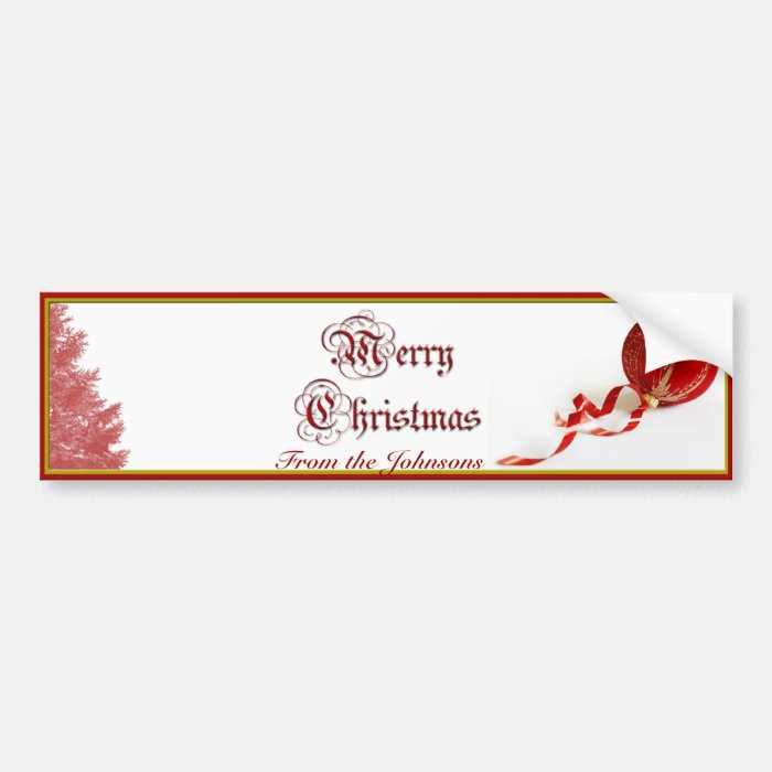 Red Christmas Tree and Ornament Wine Label Bumper Sticker