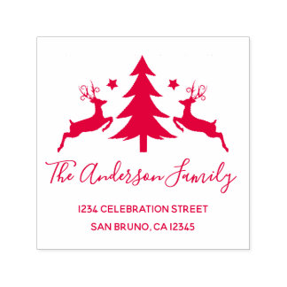 Red Christmas Tree and Reindeer Return Address Self-inking Stamp