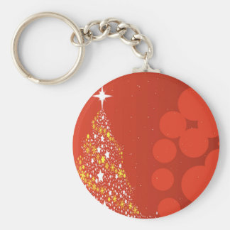 Red Christmas Tree Background Key Ring