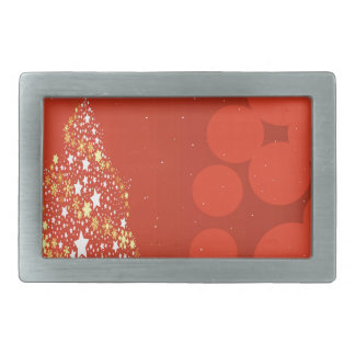 Red Christmas Tree Background Rectangular Belt Buckles