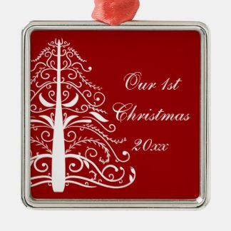 Red Christmas Tree First Christmas Together Christmas Ornament