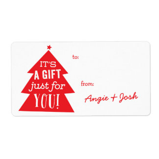 Red Christmas Tree Gift Tag Sticker