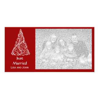 Red Christmas Tree Just Married Red Photo Greeting Card
