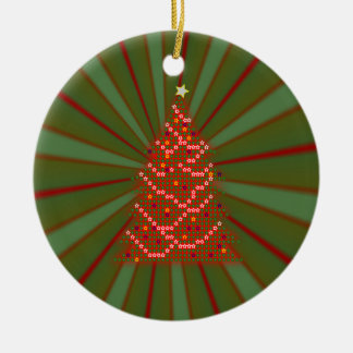 Red Christmas Tree on Red and Green Gradient Round Ceramic Decoration