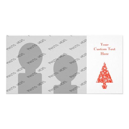 Red Christmas Tree on White. Custom Photo Card