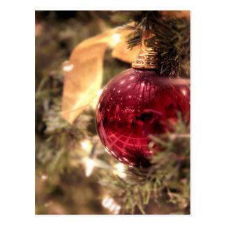 red christmas tree ornament festive postcard