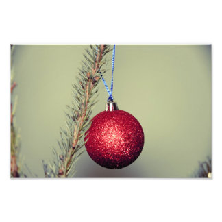 Red Christmas tree ornament Photographic Print