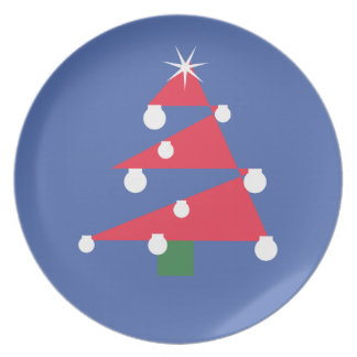 Red Christmas Tree Party Plate