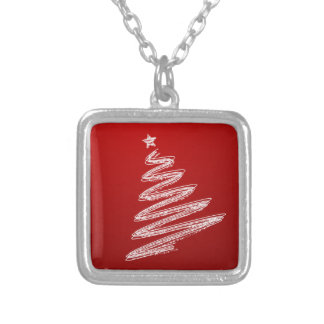 Red Christmas Tree Silver Plated Necklace