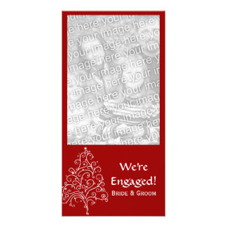 Red Christmas Tree Winter Engagement Customized Photo Card