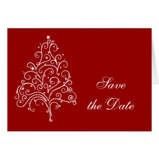 Red Christmas Tree Winter Wedding Save the Date Greeting Card