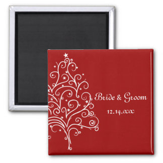 Red Christmas Tree Winter Wedding Save the Date Square Magnet