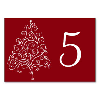 Red Christmas Tree Winter Wedding Table Numbers Table Card
