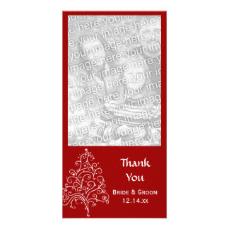 Red Christmas Tree Winter Wedding Thank You Card