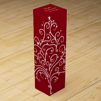 Red Christmas Tree Winter Wedding Wine Bottle Box