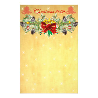 Red Christmas Tree with Stars & Garland Stationery