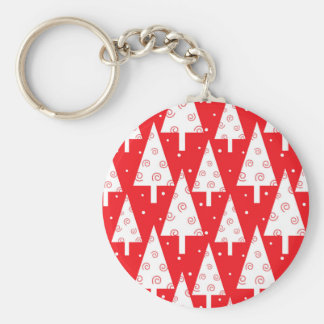 Red Christmas Trees Pattern Basic Round Button Key Ring