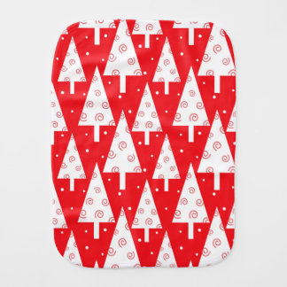 Red Christmas Trees Pattern Burp Cloths