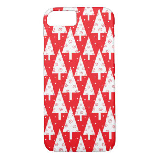 Red Christmas Trees Pattern iPhone 7 Case