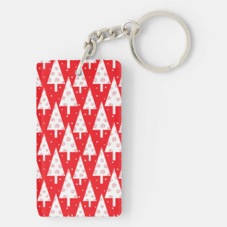 Red Christmas Trees Pattern Double-Sided Rectangular Acrylic Key Ring