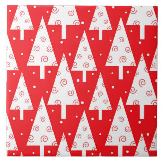 Red Christmas Trees Pattern Tile