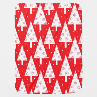 Red Christmas Trees Pattern Swaddle Blanket