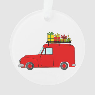 Red Christmas truck with gifts Ornament