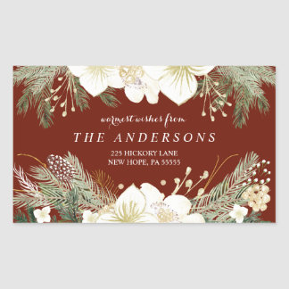 Red Christmas Watercolor Foliage Return Address Rectangular Sticker