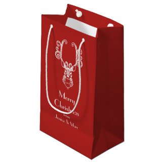 Red Christmas White Reindeer Personalized Message Small Gift Bag