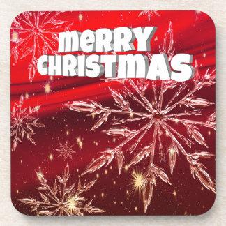 Red christmas white snow coaster