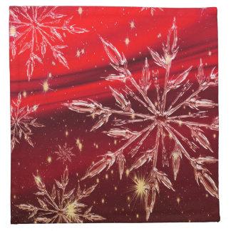 Red Christmas white snow holidays Napkin