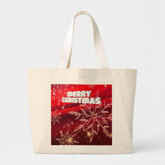 Red christmas white snow large tote bag