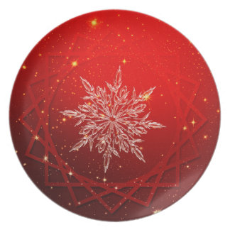 Red Christmas white snow Plate