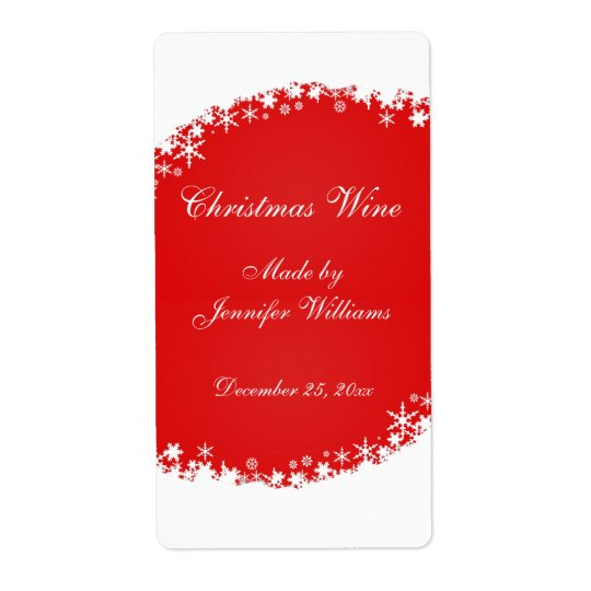 Red Christmas Wine Label Shipping Label
