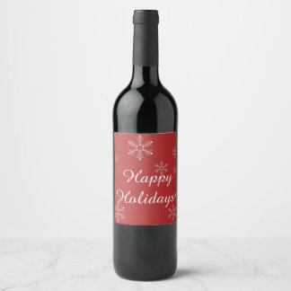 Red Christmas wine label with snowflakes.