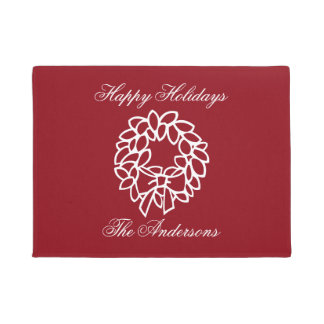 Red Christmas wreath doormat with family name