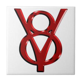 Red Chrome V8 Logo Small Square Tile