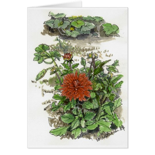 Red chrysanthemum card