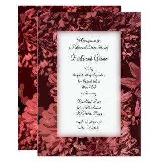 Red Chrysanthemum Flowers Wedding Rehearsal Dinner Card