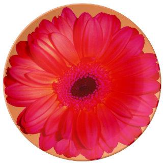 Red chrysanthemum porcelain plate
