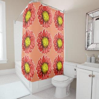 Red Chrysanthemums Warm Peach Shower Curtain