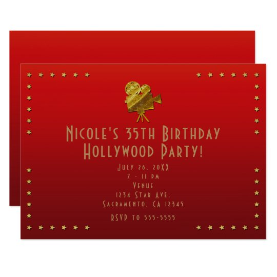 Red Cinema & Gold Stars Hollywood Party Invitation
