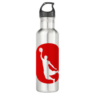 Red Circle Silhouette Basketball Personalized 710 Ml Water Bottle