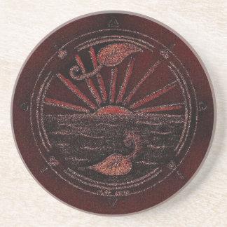 Red Circle/Sun Illustration Coaster