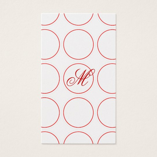 Red Circles and Monogram Business Card