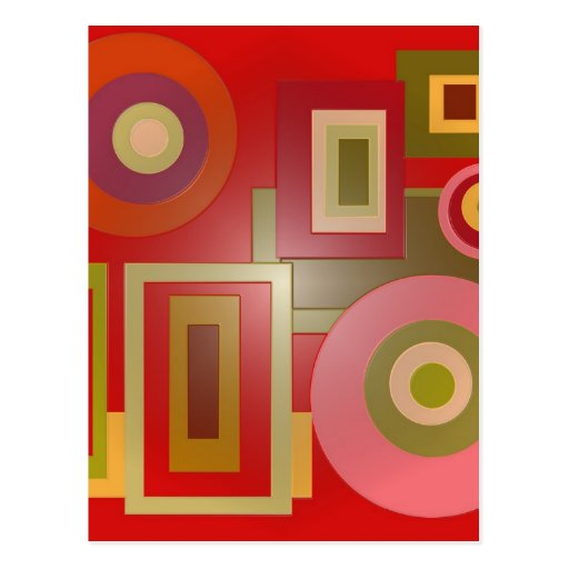 red circles and squares postcards