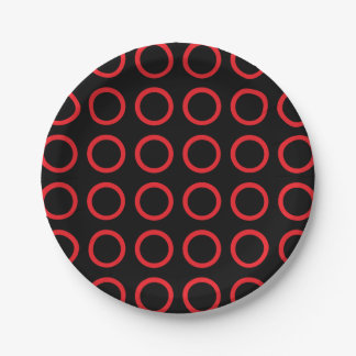 Red Circles Black Paper Plate